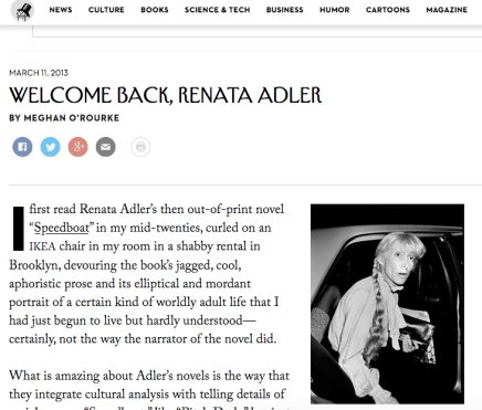 Renata Adler in The NewYorker