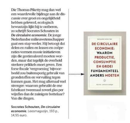 Circulaire Economie, Socrates Schouten, De Morgen, 6 april2016