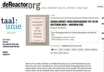 Oorlogspaarden tot in de buitenwijken – Marwin Vos, Mathijs Tratsaert,deReactor