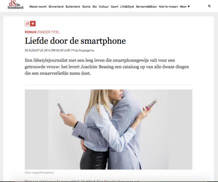 Liefde door de smartphone, Filip Huysegems, DeStandaard