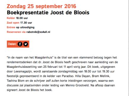 Zondag 25 september 2016 Boekpresentatie Joost de Bloois,18:00