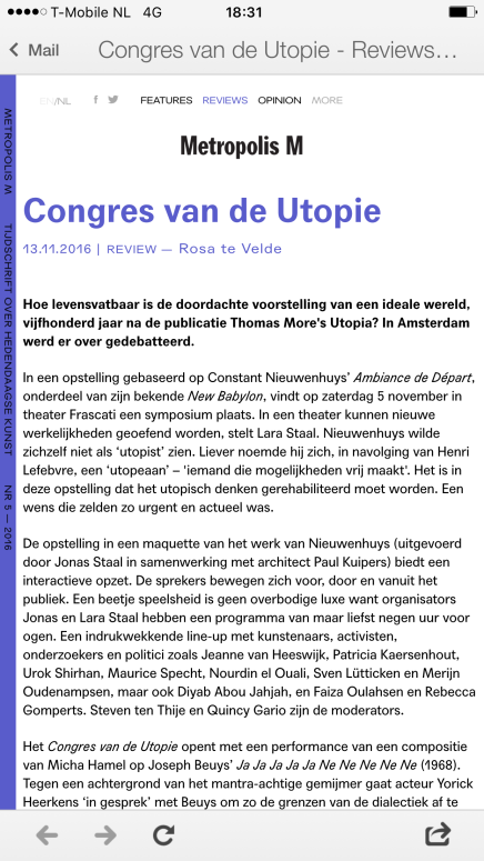 Congres van de Utopie, Metropolis M, Rosa teVelde