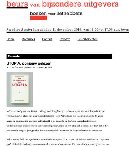 UTOPIA, opnieuw gelezen,  Jan Dietvorst, 12 november2016