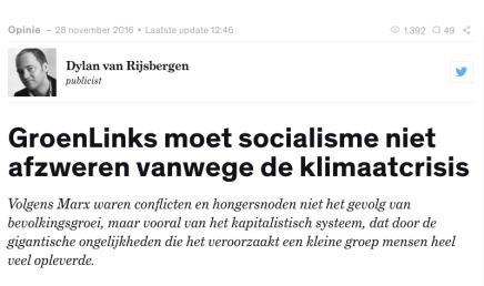 Dylan van Rijsbergen, GroenLinks moet socialisme niet afzweren vanwege de klimaatcrisis, Joop, 28 november2016