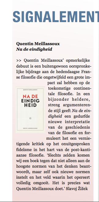 Quentin Meillassoux, Na de eindigheid, signalement in IFilosofie, dec.2016