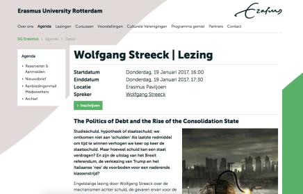 Wolfgang Streeck | Lezing, 19 Jan. @EUR