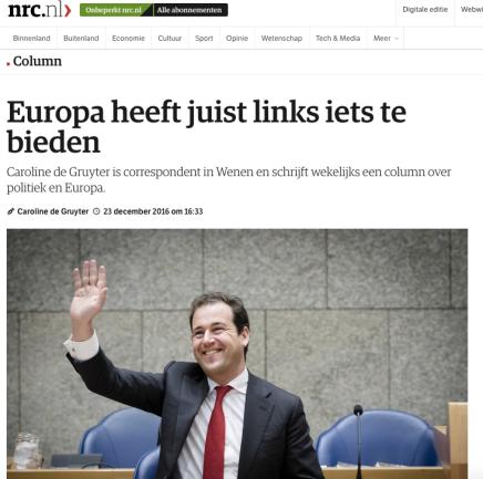 Europa heeft juist links iets te bieden, Caroline de Gruyter,23-12-2016