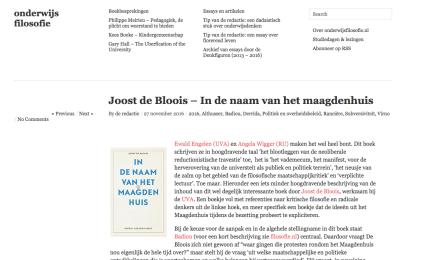 Joost de Bloois – In de naam van het maagdenhuis, in onderwijsfilosofie