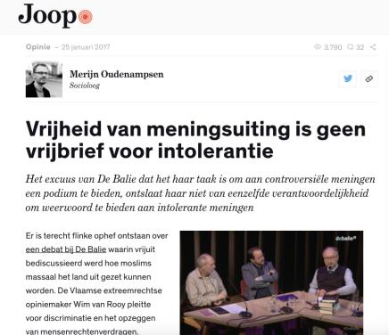 Vrijheid van meningsuiting is geen vrijbrief voor intolerantie, Merijn Oudenampsen@Joop