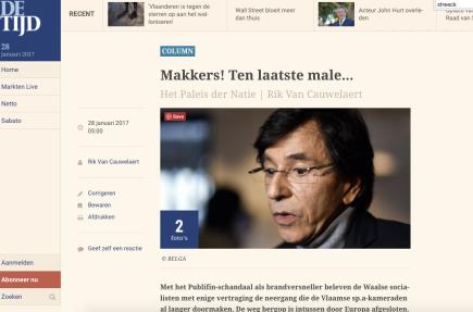 Makkers! Ten laatste male… Het Paleis der Natie | Rik Van Cauwelaert, De Tijd,28-1-17