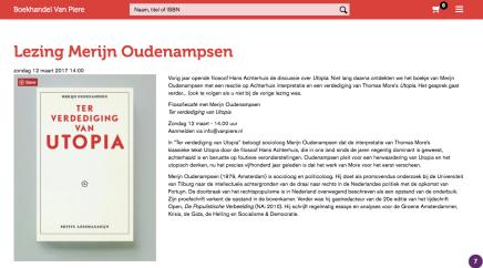 Lezing Merijn Oudenampsen, Boekhandel van Piere, Eindhoven, zondag 12 maart 2017,14.00