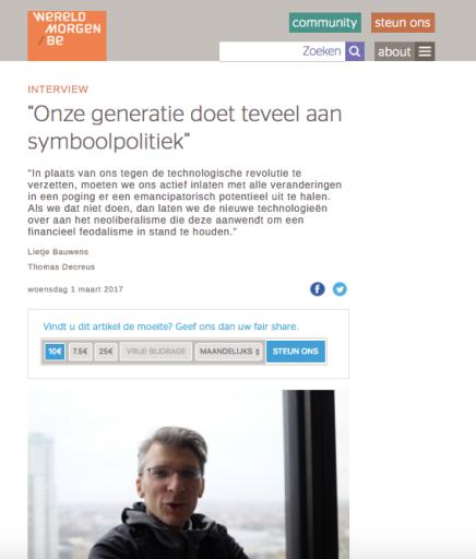 """""""Onze generatie doet teveel aan symboolpolitiek"""", Lietje Bauwens Thomas Decreus, DeWereldMorgen.be, 1 maart2017"""