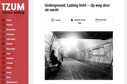 Underground: Ludwig Hohl – Op weg door de nacht, column Johannes van derSluis